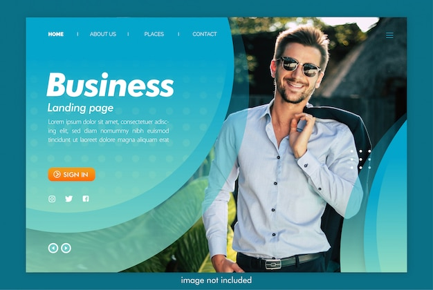 Business landing page website with image template