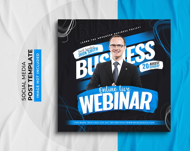 Business live webinar and corporate social media post template