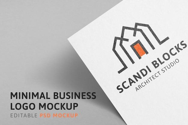 Business logo mockup, minimal professional psd design on paper