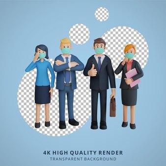 マスク3dキャラクターイラストを身に着けているキャラクターを並べて立っているビジネスの男性と女性