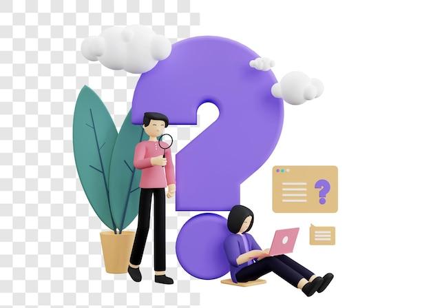 Деловой мужчина и женщины спрашивают концепцию 3d иллюстрации