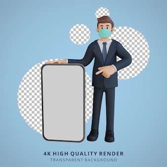 マスク3dキャラクターイラストを身に着けている空白の画面のスマートフォンのキャラクターと立っているビジネスマン