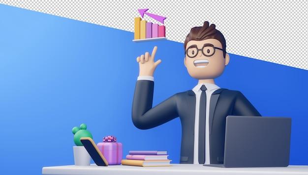 ノートブックとグラフ、3dレンダリングを持つビジネスマン。
