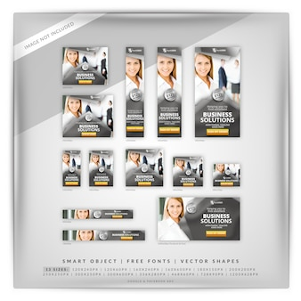Business marketing campaign banner set