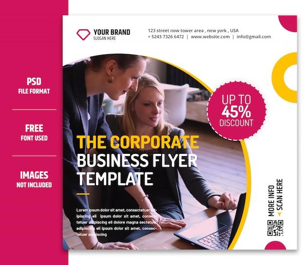 Бизнес маркетинг социальные медиа баннер или квадратный флаер шаблон premium psd - 2