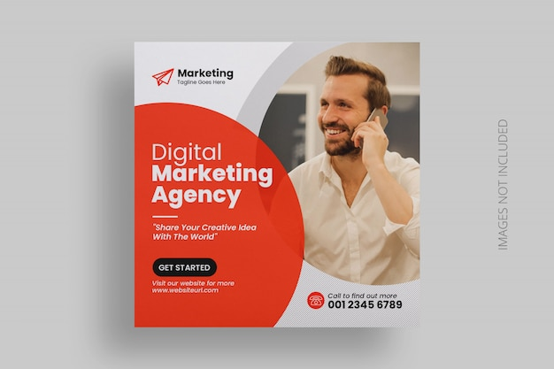 Business marketing social media banner square template