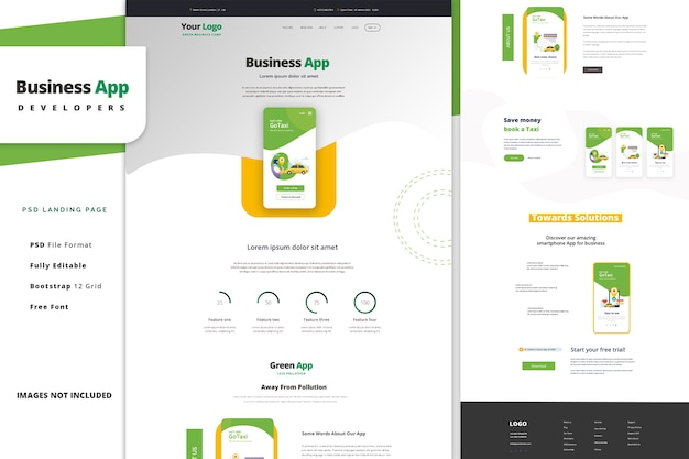 Business mobile app landing page template for car sharing