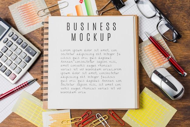 Business mock-up with desk arrangement