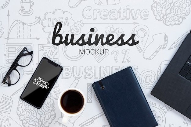 Business mock-up with devices and glasses
