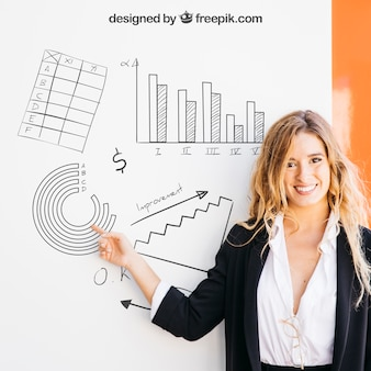 Business mockup with blonde woman pointing at board