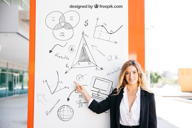 Business mockup with blonde woman