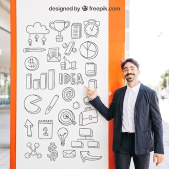 Business mockup with man in front of board