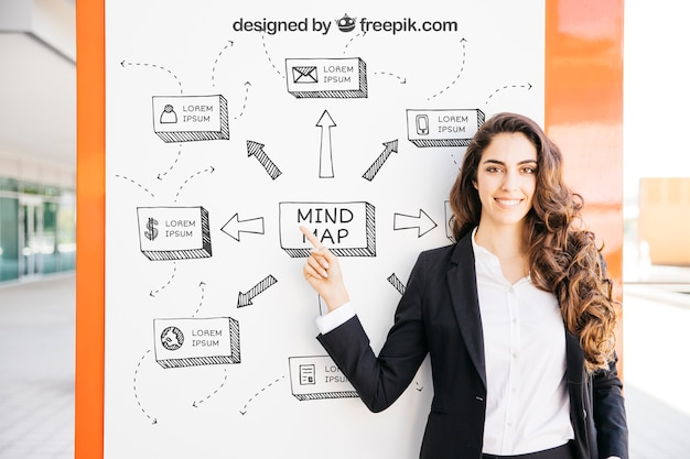 Business mockup with modern woman pointing at board
