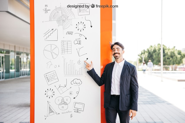 Business mockup with smiling man