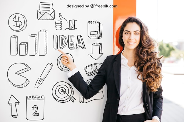 Business mockup with smiling woman