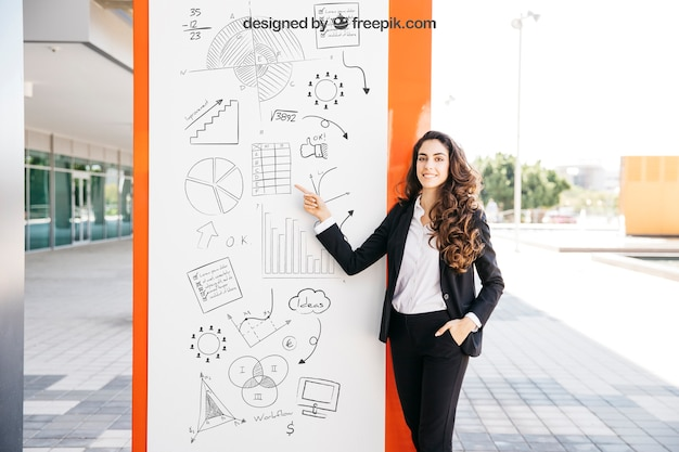 Business mockup with woman