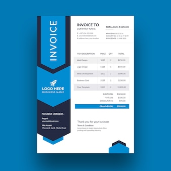 Business modern invoice template design
