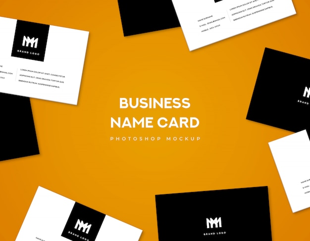 Business name card front and back for hero banner on orange background