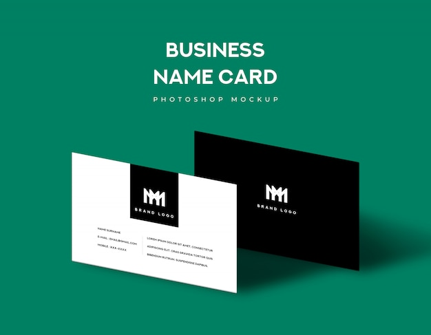 Business name card front and back with shadow light on green background