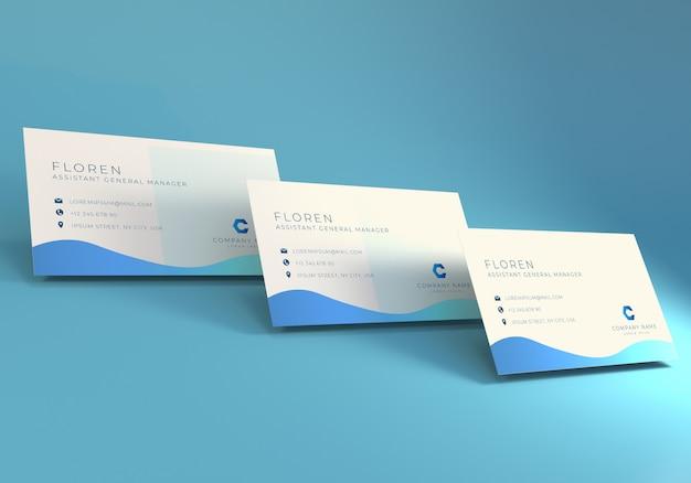 ビジネス名カードモックアップ青色の背景