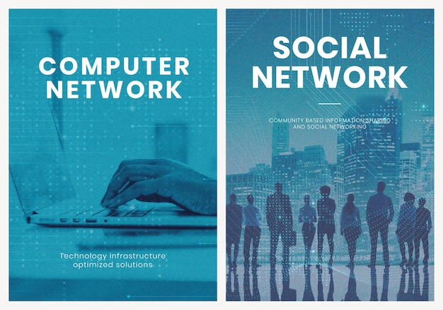 비즈니스 네트워킹 기술 템플릿 psd 포스터