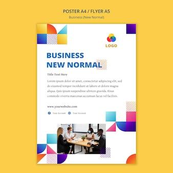 Бизнес новый нормальный шаблон плаката