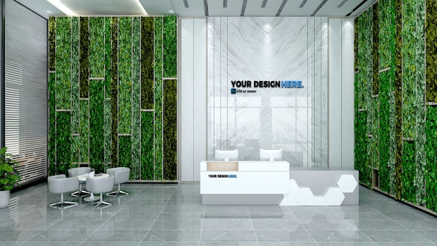 Business office front desk mockup