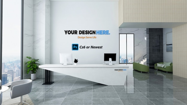 Business office front desk mockup
