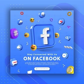 Продвижение бизнес-страницы с помощью 3d-рендера facebook для шаблона поста в instagram Premium Psd