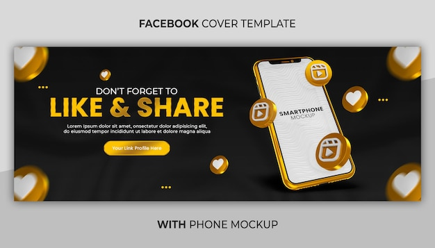 Business page promotion with 3d render gold phone mockup for social media banner