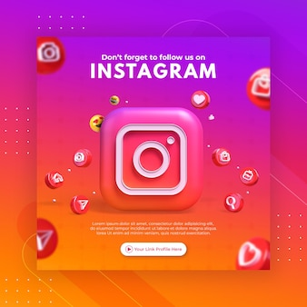 Продвижение бизнес-страницы с помощью 3d-рендера instagram для шаблона сообщения instagram
