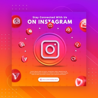 Business page promotion with 3d render instagram for instagram post template