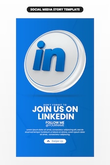 ソーシャル メディアと instagram ストーリー テンプレートの 3 d レンダリング リンクトイン アイコンを使用したビジネス ページのプロモーション