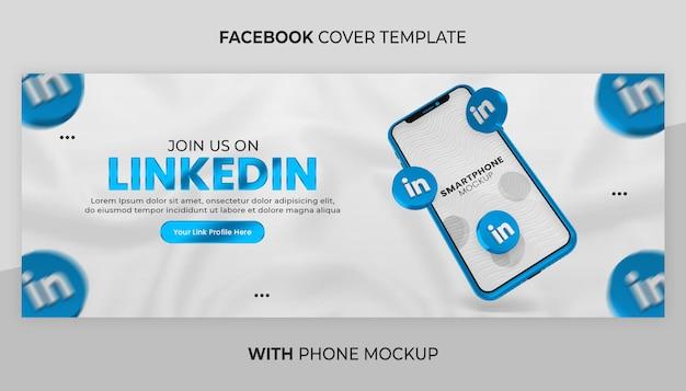 소셜 미디어 배너에 대한 3d 렌더링 전화 모형을 사용한 비즈니스 페이지 프로모션
