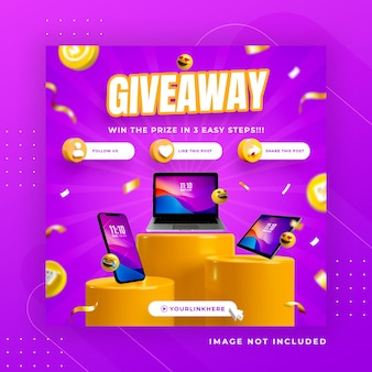 Business page promotion with 3d render telegram for instagram post template