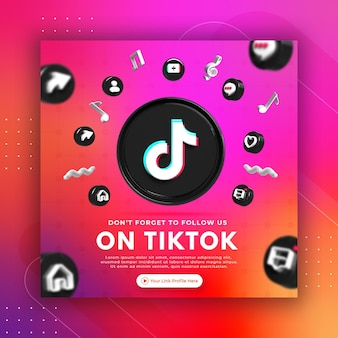Business page promotion with 3d render tiktok for instagram post template