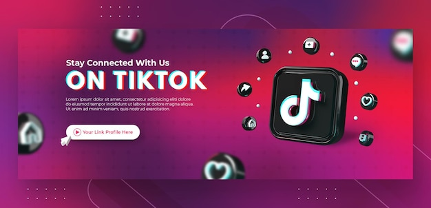 Business page promotion with 3d render tiktok logo for facebook cover template Premium Psd