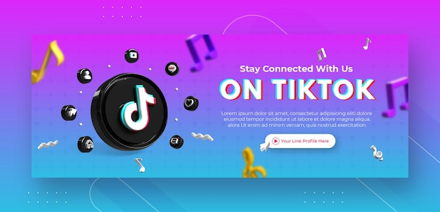 Business page promotion with 3d render tiktok logo for facebook cover template