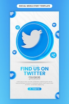 Business page promotion with 3d render twitter icon for instagram and social media story template
