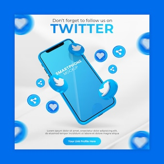 Business page promotion with 3d render twitter icon smartphone mockup