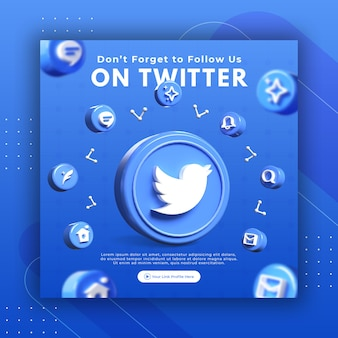 Business page promotion with 3d render twitter for instagram post template