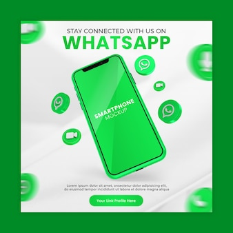 Business page promotion with 3d render whatsapp icon smartphone mockup