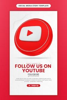 ソーシャル メディアと instagram ストーリー テンプレート用の 3 d レンダリング youtube アイコンを使用したビジネス ページのプロモーション