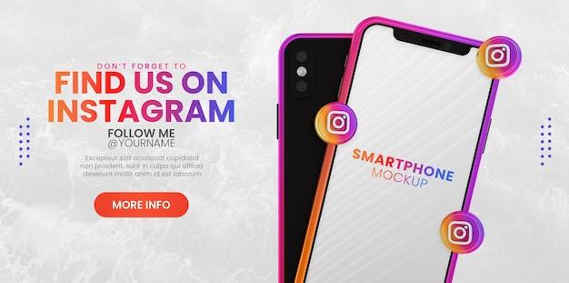 ソーシャル メディア バナー テンプレート用のスマートフォン モックアップを使用したビジネス ページのプロモーション
