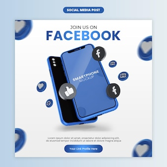 Business page promotion with smartphone for social media and instagram post