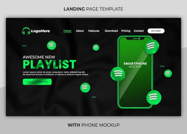 Бизнес-страница с 3d-рендером телефона макет веб-шаблона целевой страницы