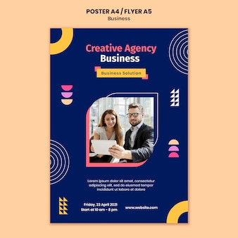 Business poster template with colorful shapes