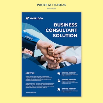 Business poster template with coworkers