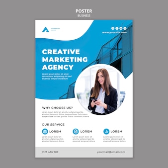 Business poster template with photo