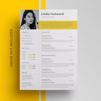 黄色のアクセントのあるビジネスプロフェッショナル履歴書デザイン
